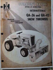 International Cub Cadet ih Garden Tractor Snow Thrower QA-36 QA-42 Owners Manual