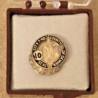Vintage USA City & County of Denver Colorado 10 Year Employee Service Pin  EUC