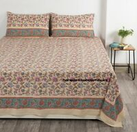 Indian Bed Sheet With 2 Pillow Case King Size Beige Floral Block Print Bedspread