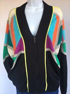 Women's Nanette Lepore Zip Cardigan Black Sweater Size M