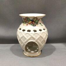 Lenox Porcelain Holiday Tartan Tealight Oil Fragrance Warmer w/ 24kt Gold Trim