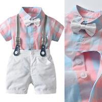 Toddler Kids Baby Boy Gentleman Outfit Clothes Grid T-shirt Top+Shorts 2pcs Set