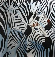 Collettività animale quadro - Dipinto a olio telaio in legno