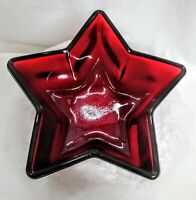 "Star Shaped Glass Ruby Red 6"" x 3"" Candy Dish New"