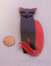 LEA STEIN PARIS QUARRELSOME CAT PIN tall standing RED & BLACK tuxedo kitty