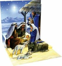 Holy Child Nativity Christmas Card 3D Pop Up Holiday Greeting Card Up With Paper