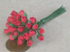1:12 Scale Bunch Of 25 Red Paper Rose Buds Tumdee Dolls House Miniature Flowers