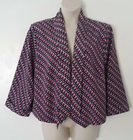 CATO Red Blue White Geometric Print 3/4 Sleeve Open Front Jacket Plus Size 4X