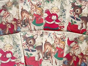 Vintage Christmas Card Toppers, Gift Tags Make Your Own Cards Santa Reindeer