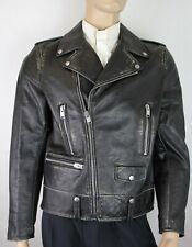 $4480 Saint Laurent Men's Black Leather Vintage Biker Jacket IT 54 397290 1023