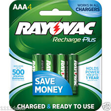 4 Rayovac Recharge Plus AAA 900mAh NiMH Rechargeable Batteries