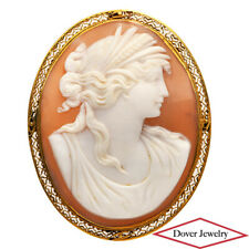 Antique Cameo 14K Gold Elegant Filigree Carved Lady Pin Brooch 13.2 Grams NR
