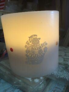 3 Led Wax Candle Snowman Scene Table Decoration,Nightlight, Christmas Lamp