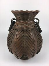 Japanese Vintage Bamboo and Wicker Ikebana Vase (Brown)