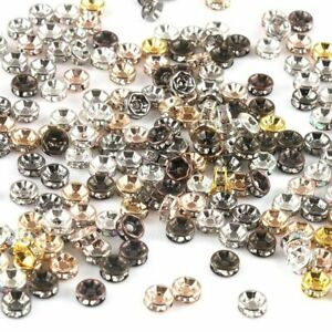 50pcs Rhinestone Round Spacer Beads Crystal Loose Bead Jewelry Making Accessorie