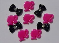 3D Acrylic Nail Art *Pink & White Barbie & Rhinestone Bows* Kawaii Nail Craft