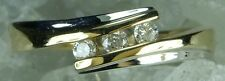 NEW Genuine Solid White & Yellow Gold Natural Mined Diamond Ring Size P or 7 1/2