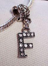 Initial Letter F Rhinestone Alphabet Dangle Bead fits European Charm Bracelets