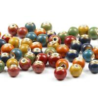 100x 6mm Round Ceramic Loose Bead Porcelain Ceramic Beads DIY For Jewelry Making
