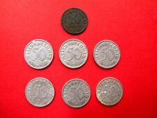 7 Set misto monete tedesche. 10 pfennings 1918 & 6x 50 pfennings (1935 1940 1941)