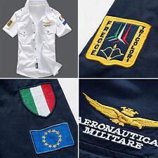 LC_ UOMO MANICA CORTA AERONAUTICA stile camicia di cotone ricamo t-shirt