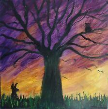 Pintura al óleo originales-el Árbol De Los Deseos-Paisaje Puesta De Sol-Reino Unido Artista
