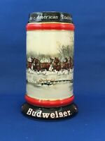 Budweiser Christmas Beer Stein Holiday 1990 Snow Clydesdale Horses Vintage EUC