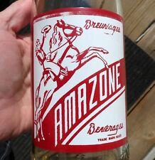 Quart size AMAZONE 30oz ACL 'Cowgirl' soda pop bottle Quebec, Canada FREE SHIP!