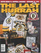 Boston Bruins vs Montreal Canadians  Last Hurrah - Boston Graden  Game Program