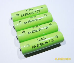 4 Stück AA MIGNON Akku 1,2V 600mAh NiMh Solar Ersatz für Solarleuchte Solarlampe
