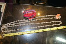 """64""""+ Silverplated Copper Necklace from Guatemala w/ red strip Colored Pouch Jsh"""