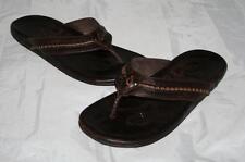 OluKai 'Mea Ola' Mens Flip Flop Brown Leather Sandals Mens 12  $120