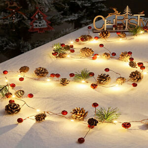 Pre Lit Christmas Garland with 20 LED Lights 7FT Pine Cone Berry Xmas Wreath DIY