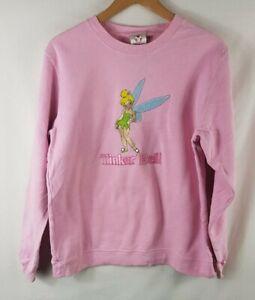 Tinkerbell Sweatshirt L Size Large Vtg Sweater Jumper Vintage Pink Disney Store