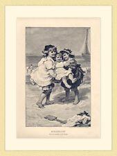 Kinderlust Spiel am Strand Meer Gemälde von F. Morgan ORIGINAL HOLZSTICH III 146
