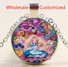 Alice in Wonderland Cabochon Tibetan silver Glass Chain Pendant Necklace #4899