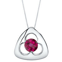 Created Ruby Sterling Silver Trinity Knot Pendant Necklace 1.25 Carats