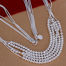 XMAS Wholesale sterling solid silver chic jewelry charm chain necklace BN747+box