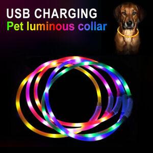 USB Rechargeable Dog Collar Pet Dog Glowing Luminous LED Night Safety Flashing