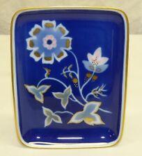 Vtg Rosenthal Kunstabteilung Royal Blue Floral w/ Gold Dish Pin Tray Germany 425
