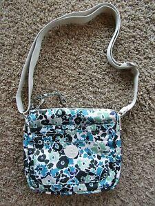 Kipling Modern Floral Blue/Black Shoulder Bag Zipper Travel Bag Purse Women's M