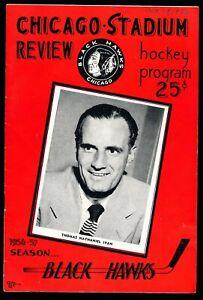 EX COND 12/9/1956 Maple Leafs @ Chicago Black Hawks NHL Program - 6 HOF'ers