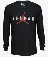 Nike Air Jordan Jumpman Long Sleeve T-Shirt Black Red BV0638-010 Men's NWT