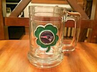"NFL New England Patriots Glass Beer Mug 5 1/8"" Tall Stein Clover"