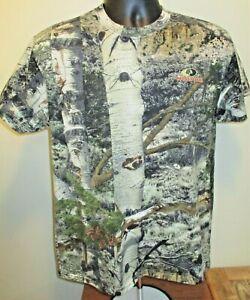 Mossy Oak Birch Trees Camo Stretch T-Shirt Cotton Blend Size Medium T-Shirt EUC
