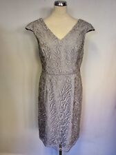 BNWT GINA BACCONI SILVER GREY LACE KNEE LENGTH DRESS SIZE 18 RRP £179