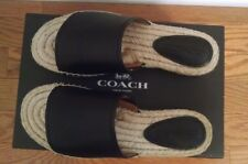 NEW COACH Claudia Espadrille Slide Sandals Black Leather 6 M Retail $135