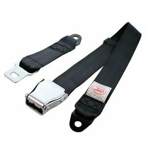 1X Airplane 2 Point Harness Adjustable Safety Belt Seat Belt Lap Strap Black