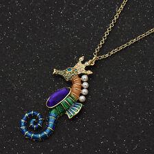 Halskette Blingbling Hippocampus Seepferd Strass Damen Party Schmuck Geschenk