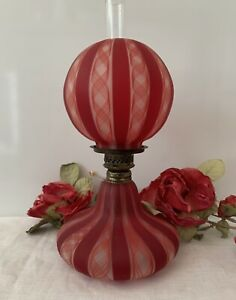 Antique Red Ribbon Latticino Miniature Oil Lamp Venetian Glass OUTSTANDING